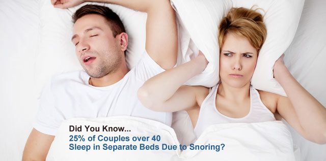 Did you know that 25 percent of couples over 40 sleep in separate beds due to snoring
